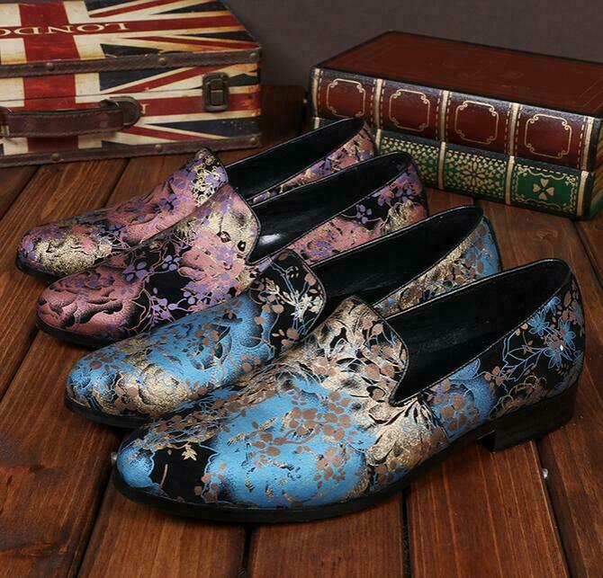Luxury Mens Printed Floral Business Dress shoes Real Leather Wing Tip Loafers