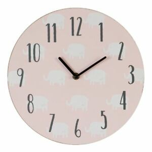 Details About Pe Cheri Pink Nursery Wall Clock White Elephant Pattern