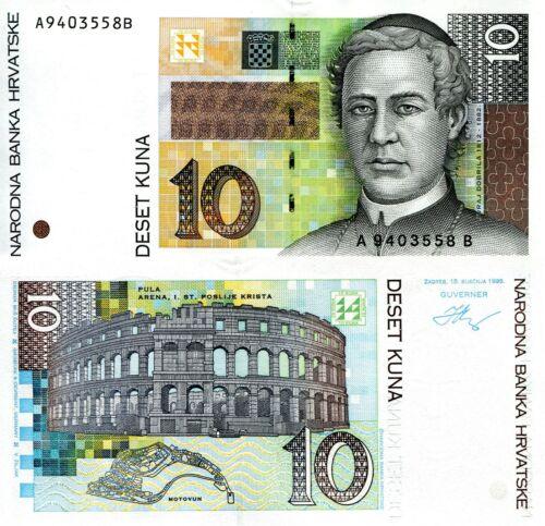 CROATIA 10 Kuna Banknote World Paper Money Currency Pick p36 1995 Juraj Dobrila