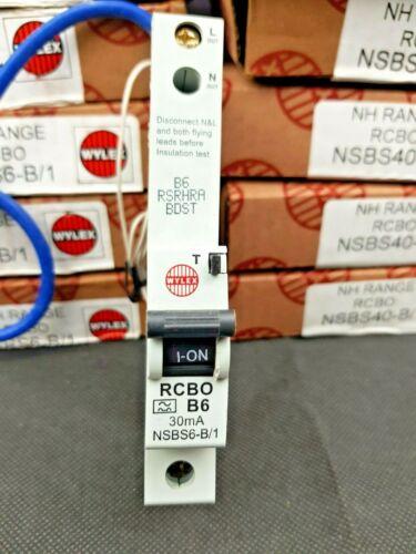 Wylex NSBS Type B RCBO B6 B16 B32 B40 Single Pole 30mA 6A 16A 32A 40A New