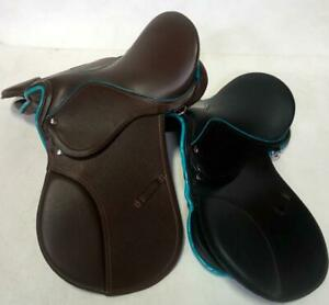 Famous-14-034-Black-Brown-Teal-Trim-AP-Saddle-Youth-WIDE-English-EVENT-Hunt-JUMP