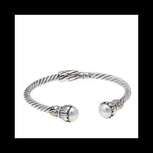 NWT-Bali-Designs-Robert-Manse-Freshwater-Pearl-2-Tone-Braided-Cuff-Bracelet