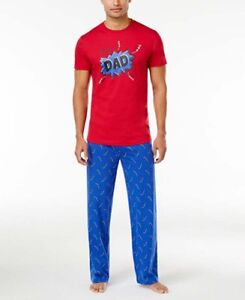 7aefe548 Men's Super Dad Pajama Set Red T-Shirt Blue Pants Thunder Bolts New ...