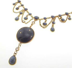 14KT-YELLOW-GOLD-72-37-CTTW-STAR-SAPPHIRE-DIAMOND-NECKLACE-17-CERT-M-999-10025