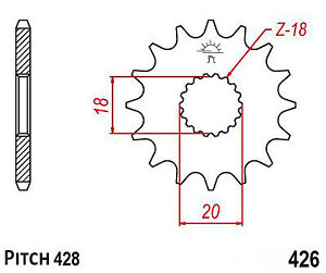 SFM ZX 125 4T 2011-2013 426-16 Hendler Front Sprocket 16 Teeth