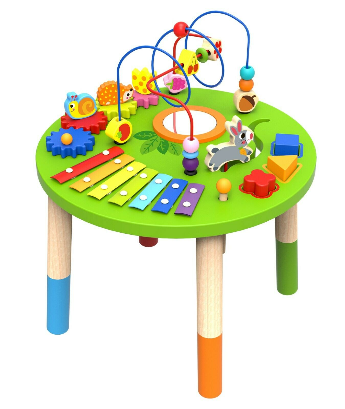 Wooden Activity Table for Toddlers   Multi-Purpose Playset Easel with Bead Maze