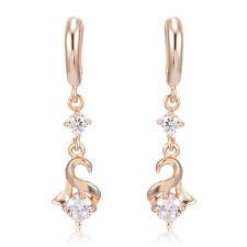 1 Pair Womens Gold Filled Crystal Lady Elegant Dangle Korean Stud Earrings Girls