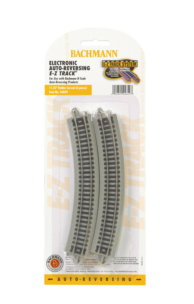 44849 Paquet de 6 rails courbes courbes courbes AUTOREVERSING Ballasté Bachmann Train N 1 160 289709