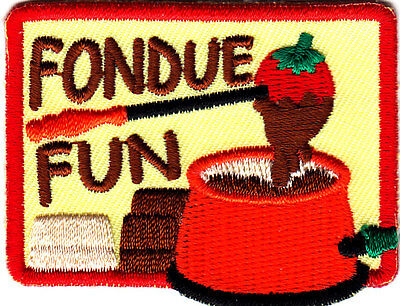 "SET OF 2 ""FONDUE FUN"" PATCHES - Iron On Embroidered Patch - Food, Cooking, Party"