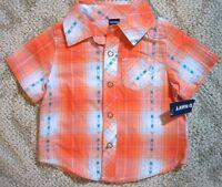 Old Navy Infant Baby Boys Orange Plaid Cotton Cuban Shirt 0-3 Months