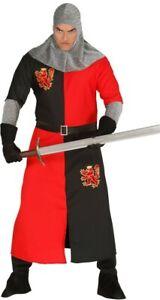 Deguisement-Homme-CHEVALIER-Lion-L-Noir-Rouge-Adulte-Medieval-NEUF
