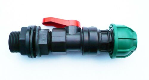 """Adaptador De Tanque De 3//4/"""" BSP con válvula de bola en Línea Conector De Compresión De MDPE"""