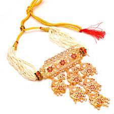 Set Handmade Ad Cz Pearl Polki Jade Gold Plated Multi Gemstones Necklace 7217