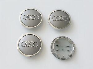 4x-69mm-AUDI-Nabendeckel-Felgendeckel-Nabenkappen-Grau-4B0601170A
