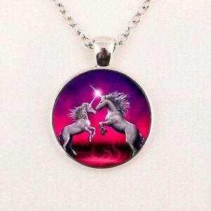 UK-PINK-GALAXY-UNICORN-PENDANT-NECKLACE-Jewellery-Gift-Idea-Womens-Girls-Kids