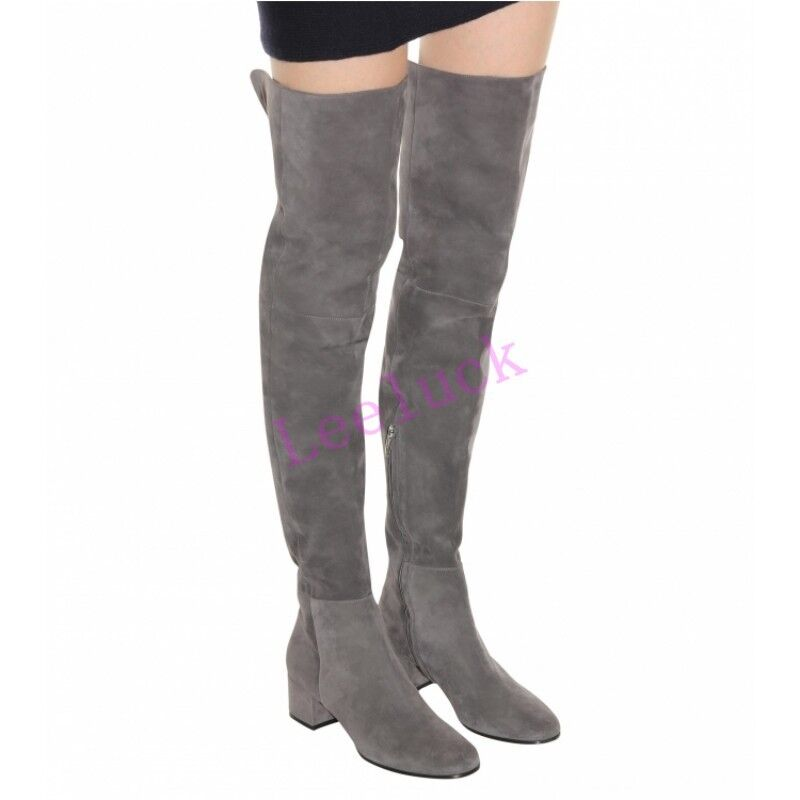 Retro Womens Stretchy High Block Heels Over The Knee Boots Slouch Suede shoes