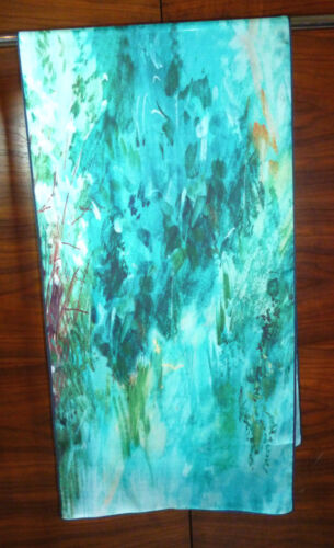 Long silk twill scarf Section of Anders Zorn painting  Shades of blue  NEW