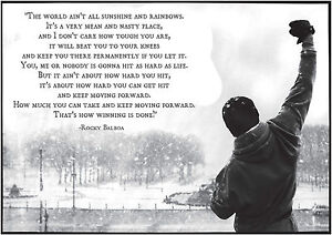 A0 A1 A2 A3 A4 Sizes Rocky Balboa Quote 2 Framed Giant CANVAS PRINT