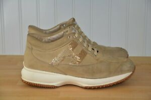 Details about Hogan Interactive Sequined Gold Brown Leather Suede Sneakers Women's US 7 EU 37