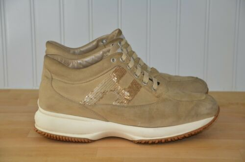 Hogan Interactive Sequined Gold Brown Leather Suede S… - Gem