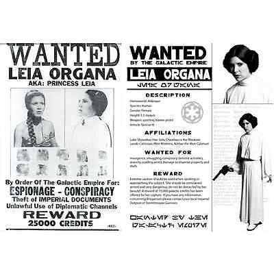 Star Wars Set Of 2 Princess Leia Wanted Poster Prop/Replica Prints Carrie Fisher