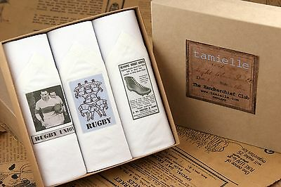 Tamielle - Set of 3 mens white handkerchiefs with rugby motifs 40cm x 40cm