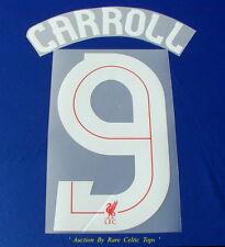 """RARO Liverpool FC europeo Player Issue """"Carroll 9"""" nome e numero serie"""