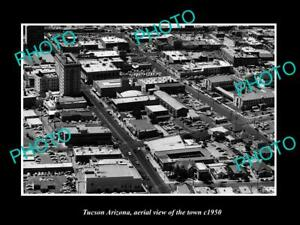 OLD-POSTCARD-SIZE-PHOTO-TUCSON-ARIZONA-AERIAL-VIEW-OF-THE-TOWN-c1950