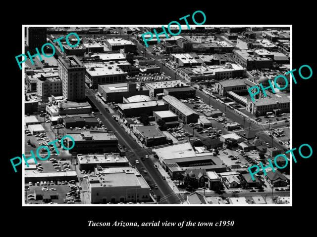 OLD POSTCARD SIZE PHOTO TUCSON ARIZONA AERIAL VIEW OF THE TOWN c1950