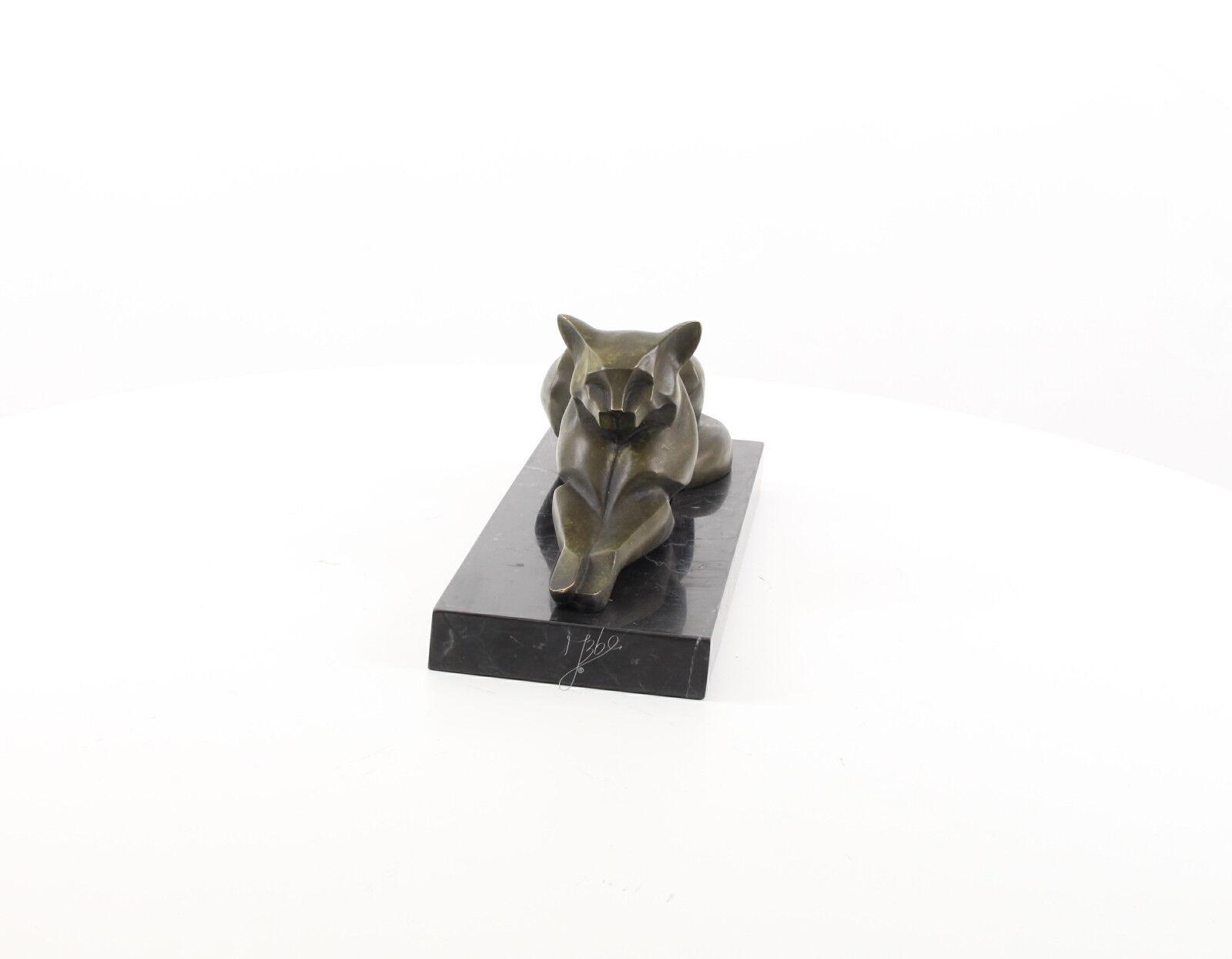 9973460-dss escultura de bronce subyacente gato le pueden aplicar estilos 16x14x35cm