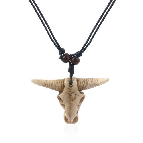1 x Vaca De Estilo Retro Vintage Goth//Cabeza de Buey Toro Cráneo Colgante Collar