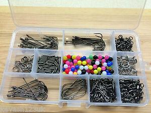 La-pesca-maritima-Rig-set-makes-50-plataformas-beads-swivels-crimps-Ganchos-Un-Regalo-Gratis