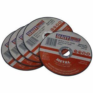 Sealey 5 Pack 100 Mm X 1.6 Mm Métal Coupe Fente Disques De Broyage 16 Mm Alésage-afficher Le Titre D'origine