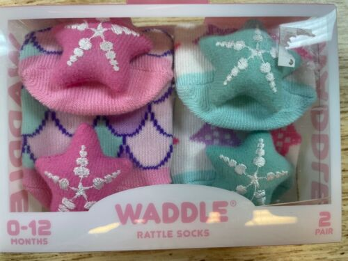 2 Pair Of Unisex Star Fish Rattle Socks Infant Size 0-12 Months Waddle Brand