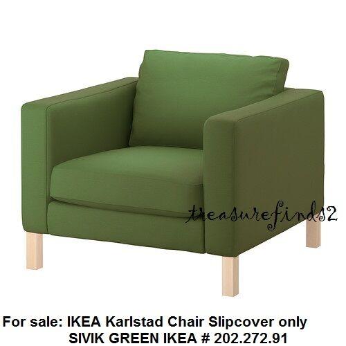 Ikea Slipcover For Karlstad Chair Armchair Sivik Green For Sale