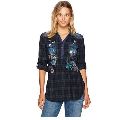 Desigual brand. Grün and Blau plaid blouse w  denim. US Größe XL. EUR Größe 2XL