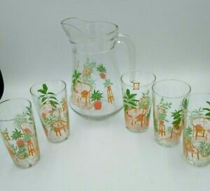 Vintage Luminarc Glass Pitcher & 5 Juice Glass Set Outdoor Patio Golden Girl