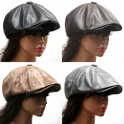 NEWSBOY 8 Panel Faux Leather GATSBY Golf Cap Driving Cabbie Hat Mens Womens M8L