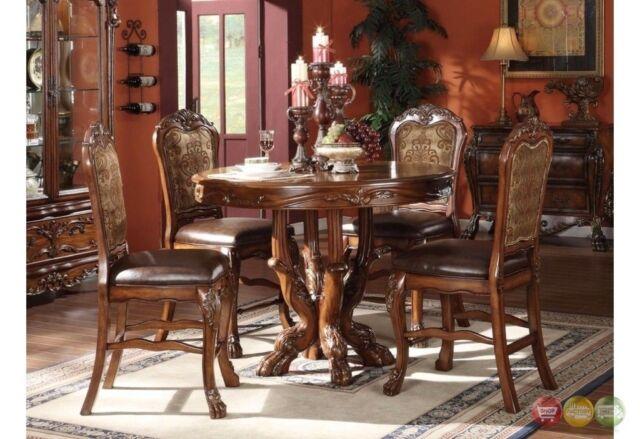Acme 12160 5pcs Dresden Cherry Oak Round Counter Height Dining Set