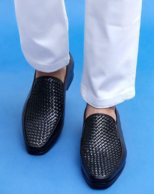 Hecho a mano para hombres Cuero Negro Genuino Mocasines & Slip Ons Formal Zapatos Mocassins