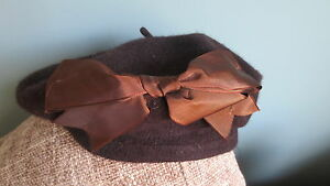 NEW-Cute-Brown-1950-039-s-1940-039-s-style-beret-S-XS-pinup-burlesque