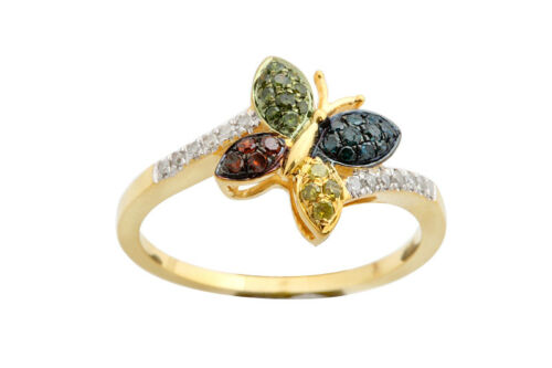 Butterfly Shape Fancy Designer Band Multi Color Diamond Ring 0.25Ct