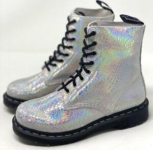 Dr. Martens Pascal 1460 Iridescent White Suede Combat Boots Women's Size 8