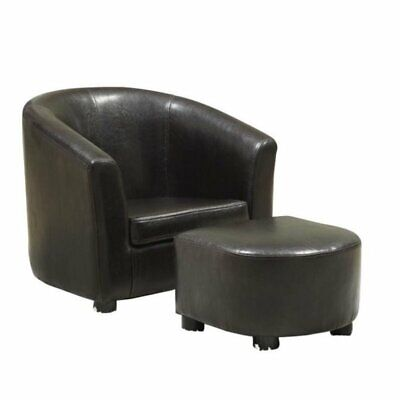 Marvelous Rosebery Kids Faux Leather Chair And Ottoman Set In Dark Brown 705641471942 Ebay Beatyapartments Chair Design Images Beatyapartmentscom