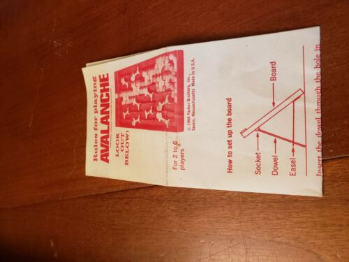 Avalanche Vintage Board Game Replacement Parts Marbles Dowel Cards Instructions