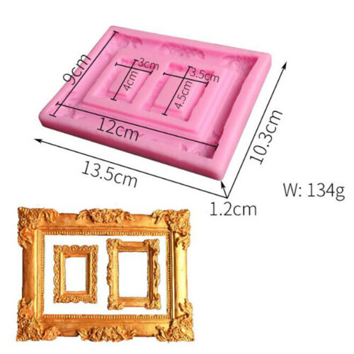 Vintage Mirror Picture Photo Frame Mold Icing Cake Fondant Mold CB