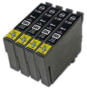 4 Black T1291 non-OEM Ink Cartridge For Epson Stylus SX235W SX420W SX425W