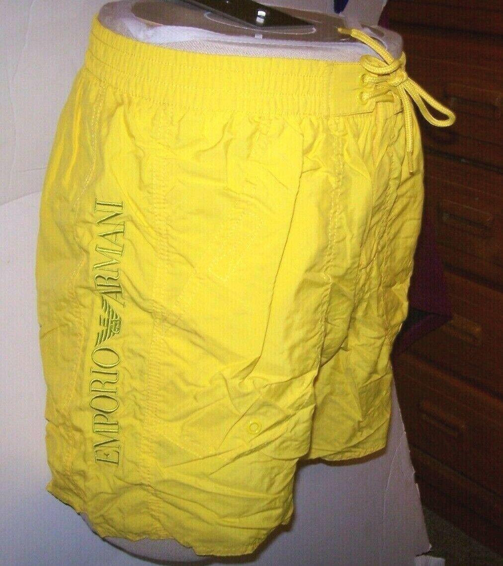 NEW EMPORIO ARMANI yellow swim suit trunk shorts elastic waist 32 48 34 50 36 52