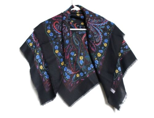 Hong Scarves Italy Black & MultiColor Floral Paisley Print Square Scarf