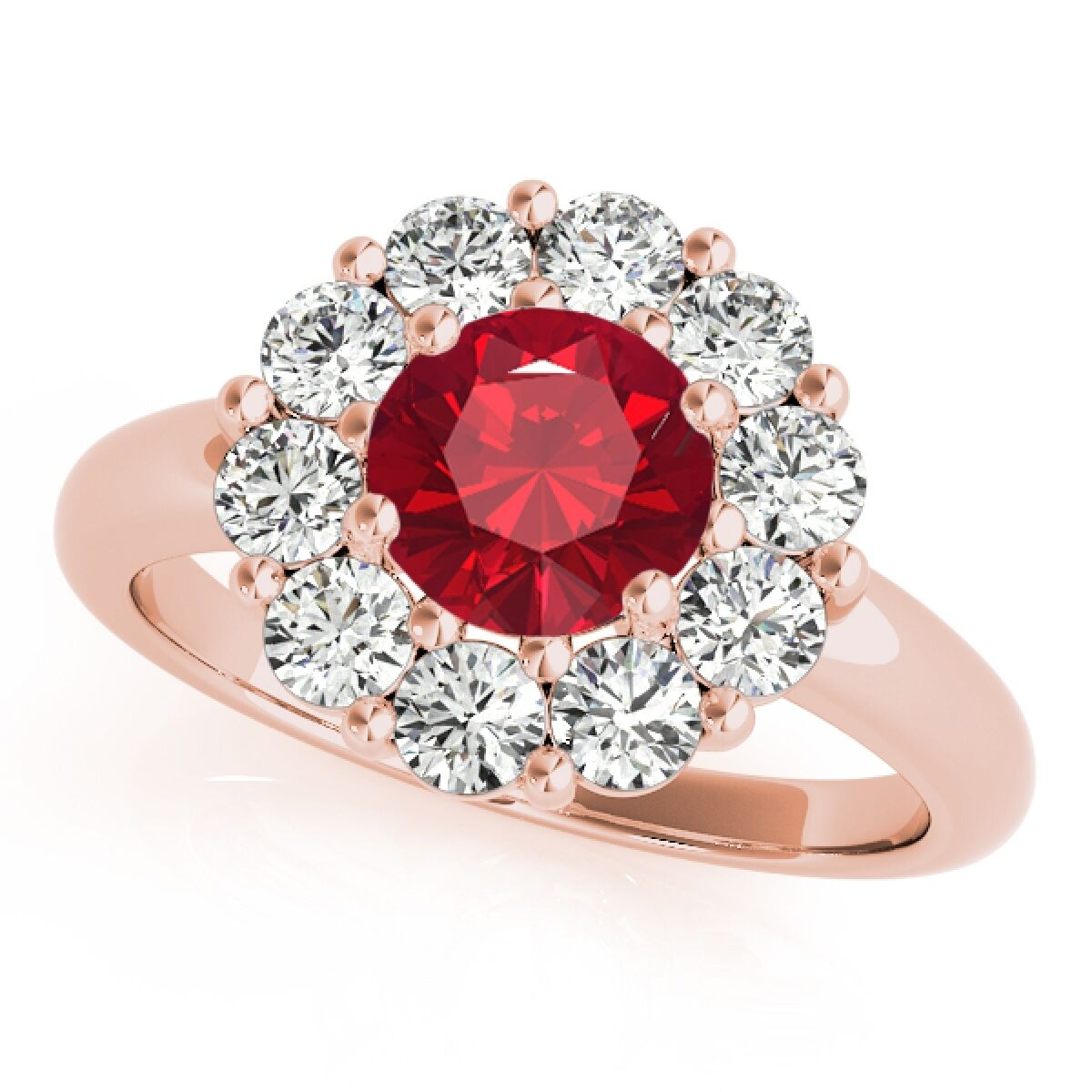 1.90Ct. Halo Ruby And Diamond Engagement Wedding Ring In 10K Solid pink gold